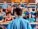 backview of teacher facing classroom